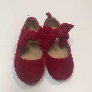 [Baby Gap] Red Velvet Bow Dress Shoes